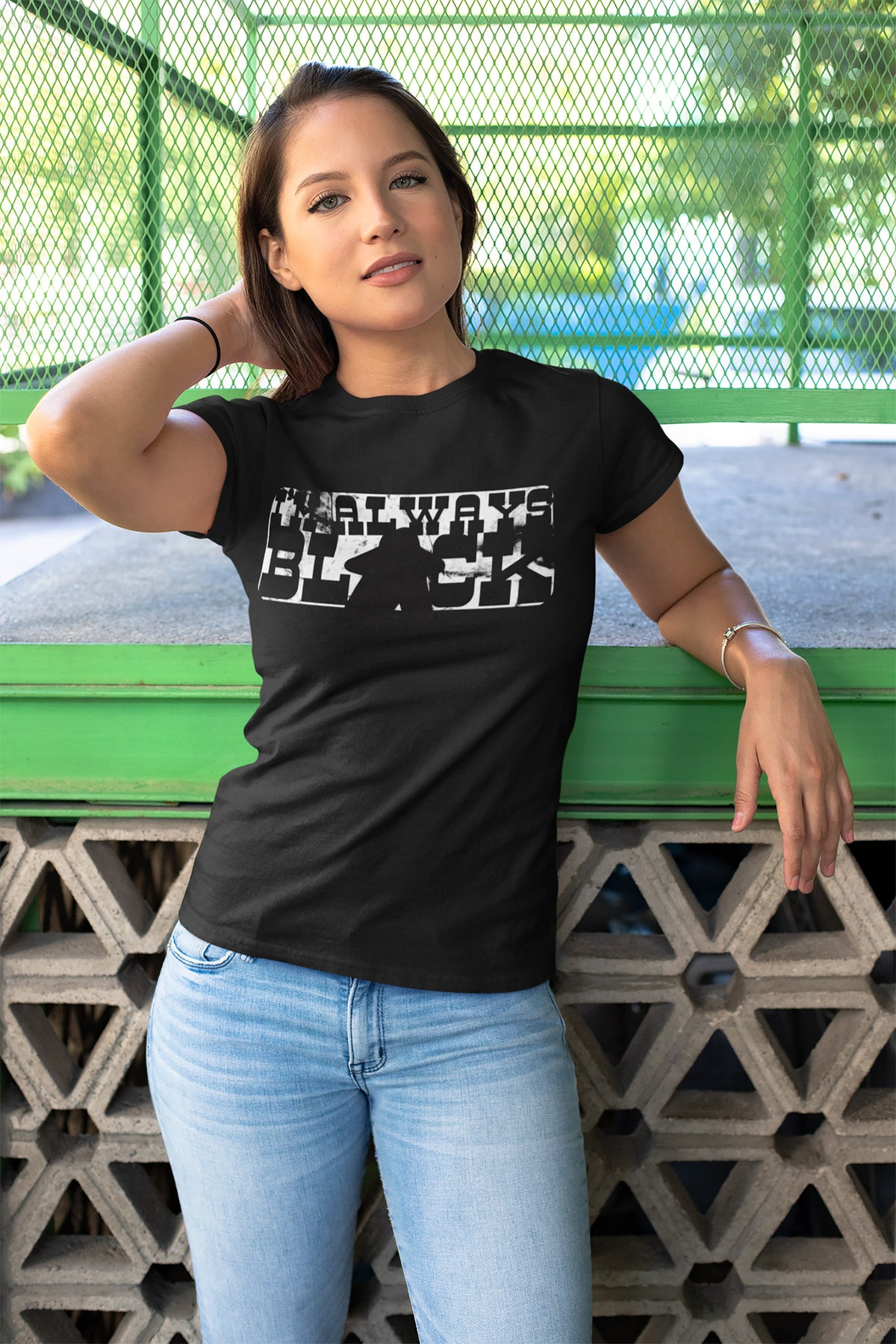 I'm Always Black Meeple Board Game T-Shirt Action Shot Women's
