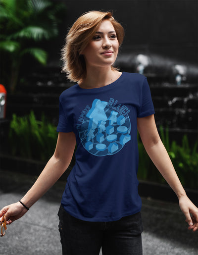 I'm Always Blue Meeple Board Game T-Shirt Action Shot Women's