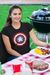 Captain Meeple Shield Board Game T-Shirt Action Shot Women's