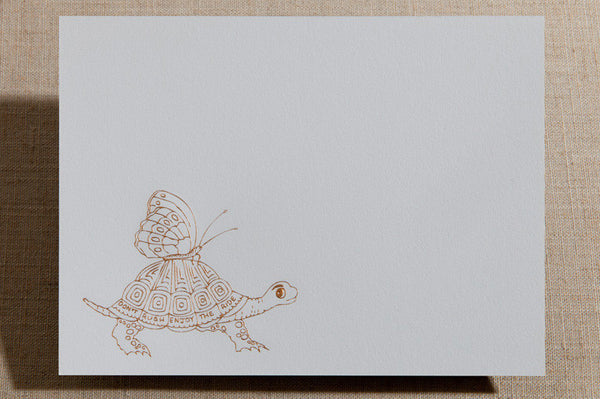 Flat Cards - Turtle with Butterfly