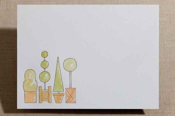 Hand-Colored Flat Cards - Watercolored Topiary