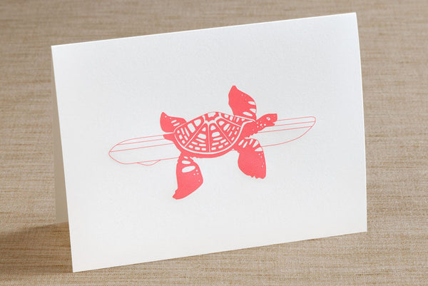 Folded Cards - Sea Turtle with Surfboard
