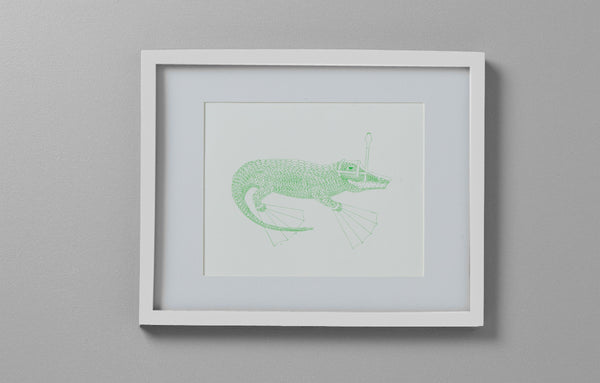 Art Print - Alligator with Snorkel Gear