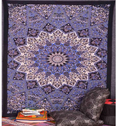 Mandala Tapestry-purple, black, white tapestry