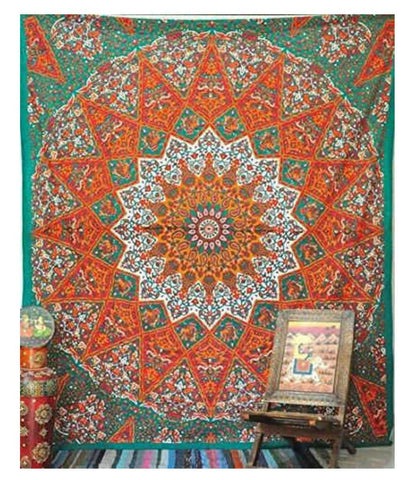 Mandala Tapestry-Orange and Green