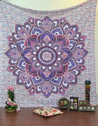 Mandala Tapestry-Pink, Purple & Blue