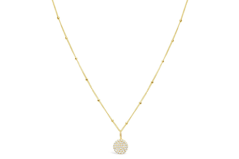 Charm & Chain Necklace -Pave Disk Gold