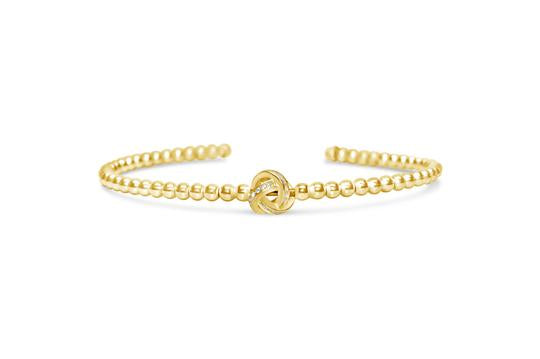 Flex Beaded Cuff Pave Love Knot in Gold