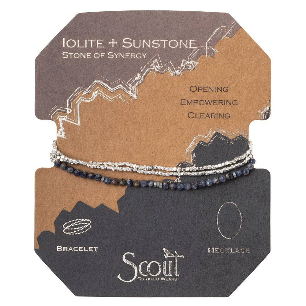 Delicate Stone Wrap in Iolite + Sunstone
