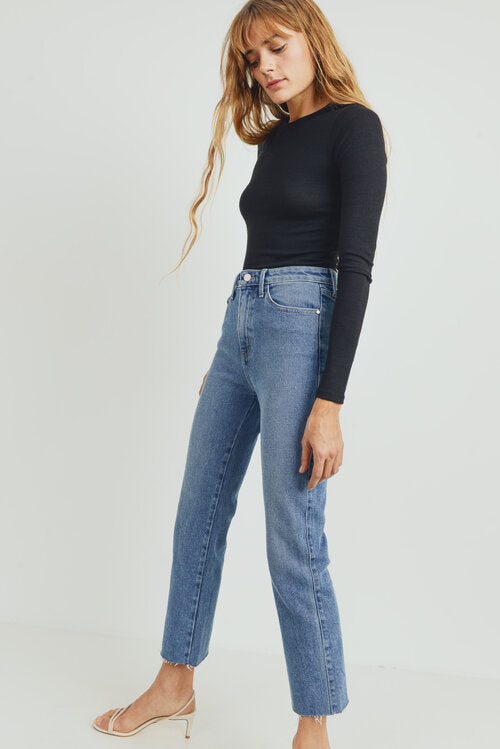 High Rise Classic Straight Jeans in Medium Wash