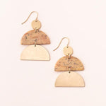 Stone Half Moon Earring - Petrified Wood/Gold