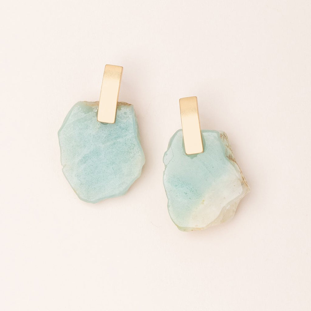 Stone Slice Earring in Amazonite/Gold