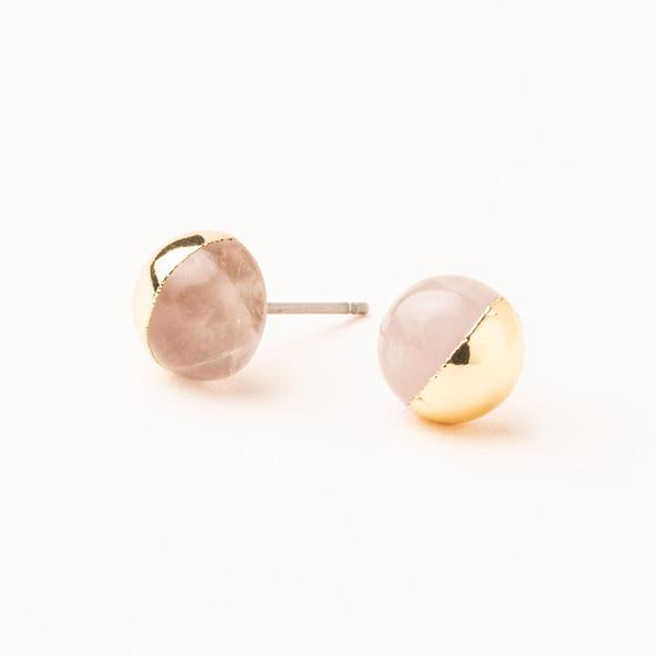 Dipped Stone Studs in Rose Quartz/Gold