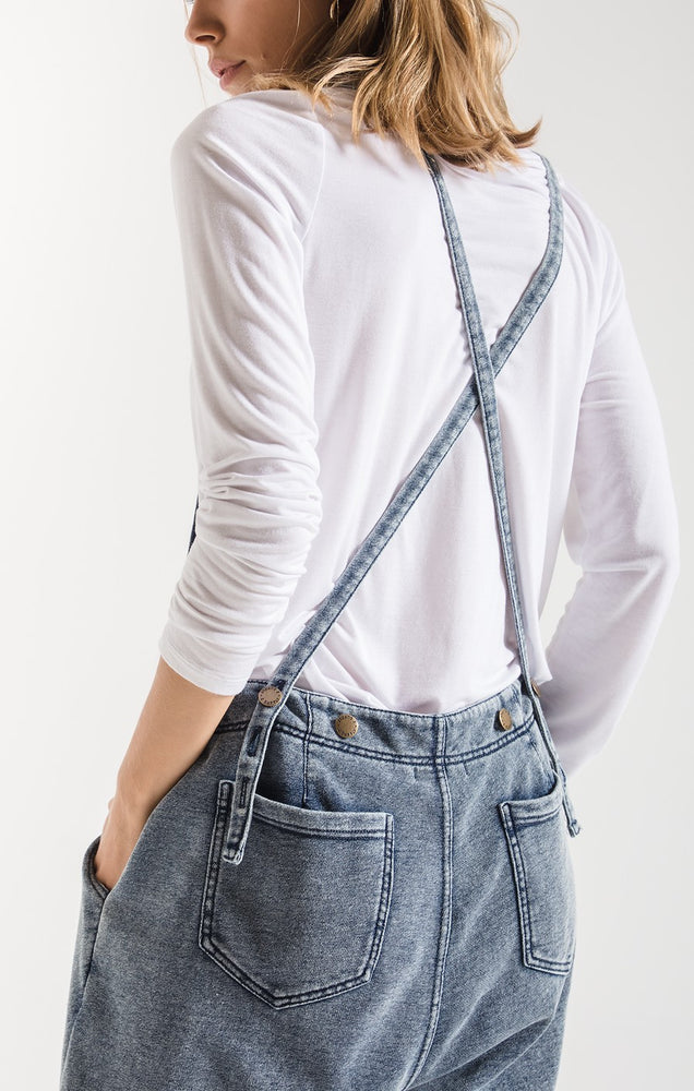 Z Supply The Knit Denim Overalls in Indigo