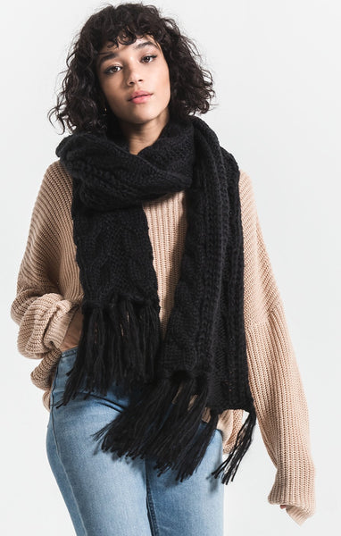 Rag Poets Jen Fringed Scarf in Black