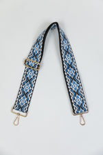 Adjustable Bag Strap - Blue/White Embroidered Medallion