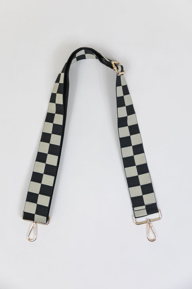Adjustable Bag Strap - Black/Cream Checkerboard