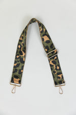 Adjustable Bag Strap in Green Leopard