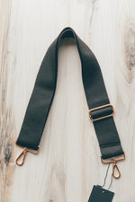 Adjustable Bag Strap in Solid Black with Gold Hardware