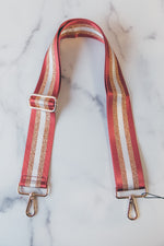 Adjustable Bag Strap - Burgundy/White/Gold