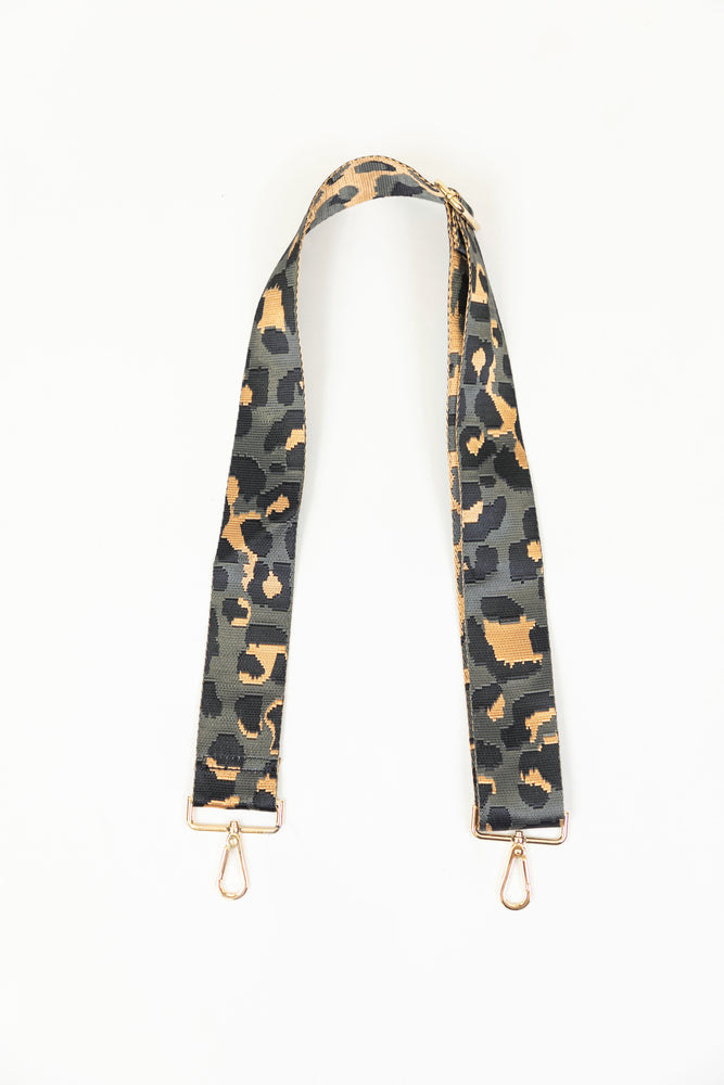 Adjustable Bag Strap in Grey Leopard