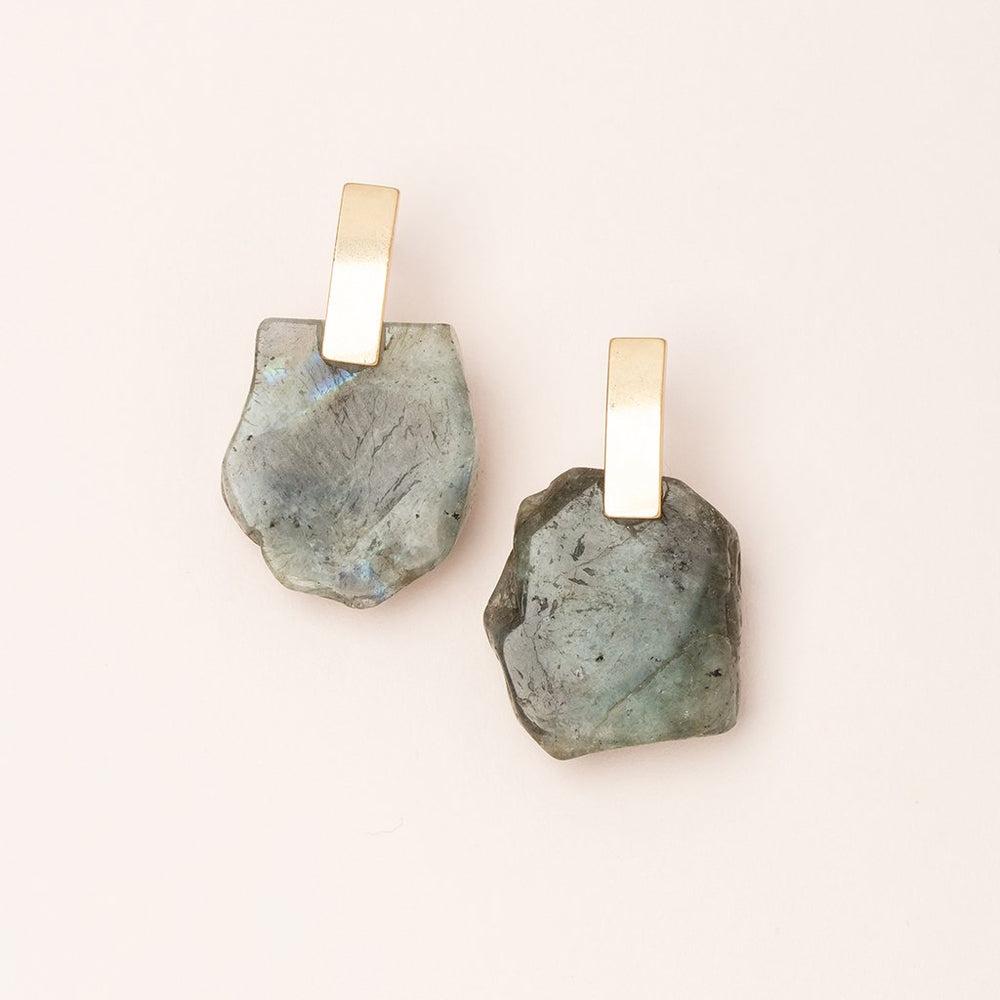 Stone Slice Earring in Labradorite/Gold