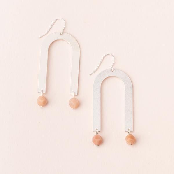 Stone Arches Earring - Sunstone/Silver