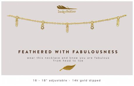 Gold Dangle Necklace - Feathers