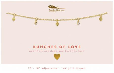 Gold Dangle Necklace - Love