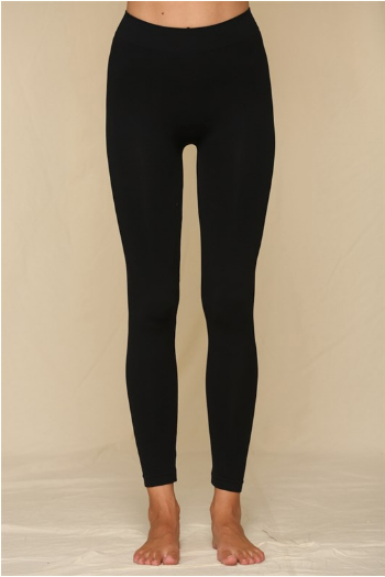 Ribbed High Waisted Leggings in Black