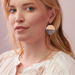 Stone Full Moon Earring - Rhodonite/Silver