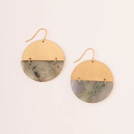 Stone Full Moon Earring - Labradorite/Gold