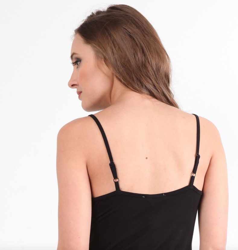 Hem & Thread Layering Cami Dress in Black