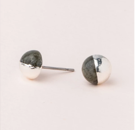 Dipped Stone Studs in Labradorite/Silver