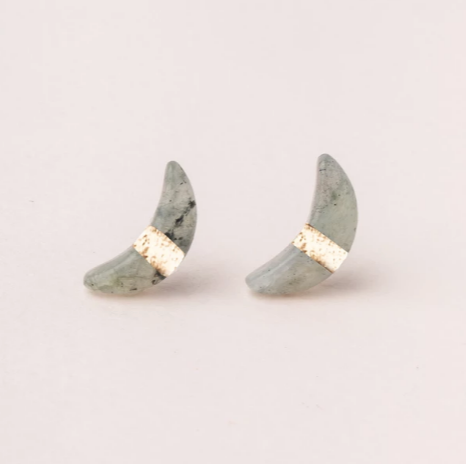 Crescent Moon Studs in Labradorite/Gold