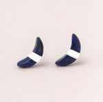 Crescent Moon Studs in Lapis/Silver