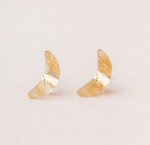 Crescent Moon Studs in Citrine/Gold