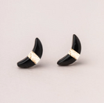 Crescent Moon Studs in Black Spinel/Gold
