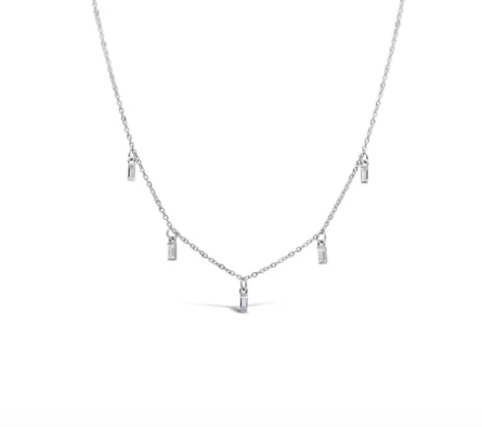 Dazzling Dangle Jagged Baguette Necklace