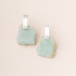 Stone Slice Earring in Amazonite/Silver