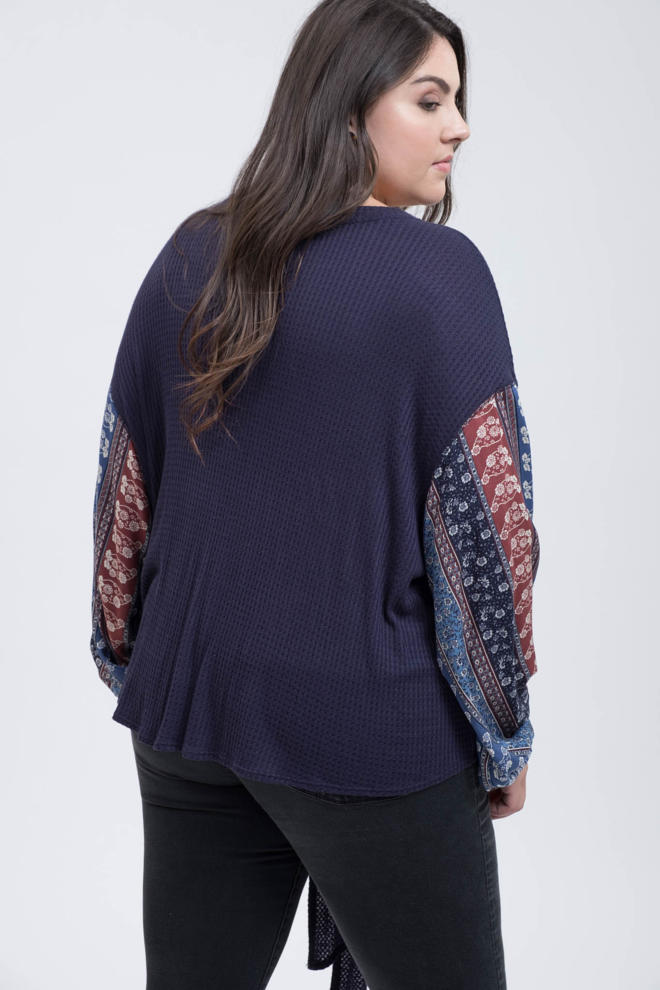 Blu Pepper Front Tie Knit Top Navy