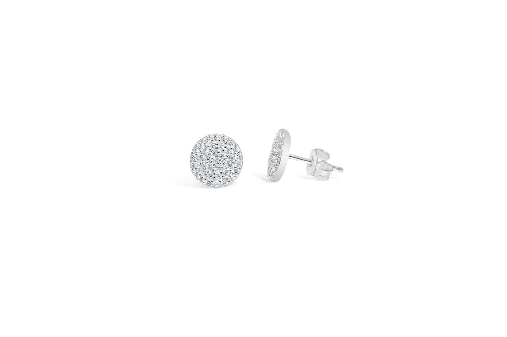 Pave Disk Earring in Silver