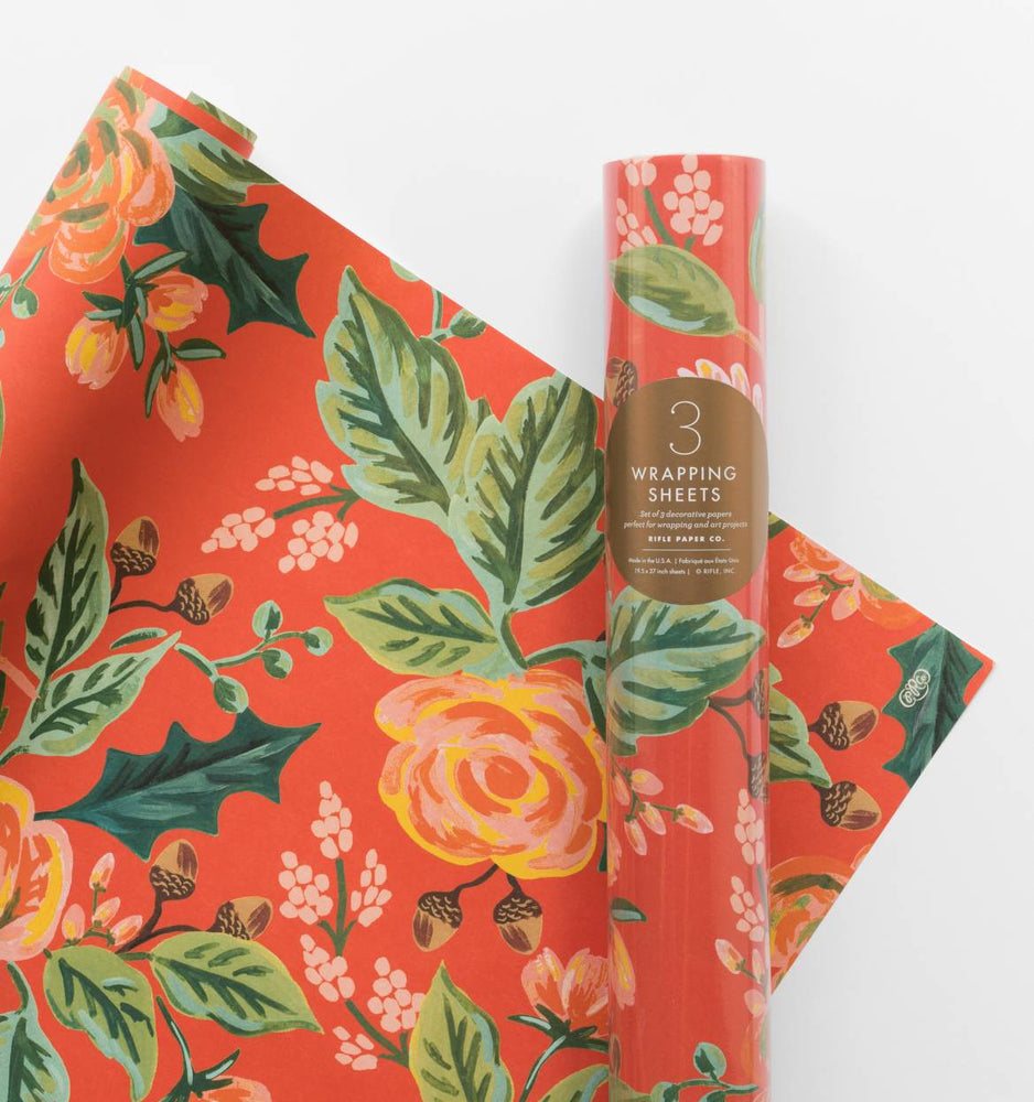 Rifle Paper Co. Roll of 3 Jardin Noel Wrapping Sheets