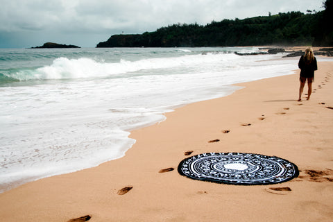 Large Black Round Beach Towel