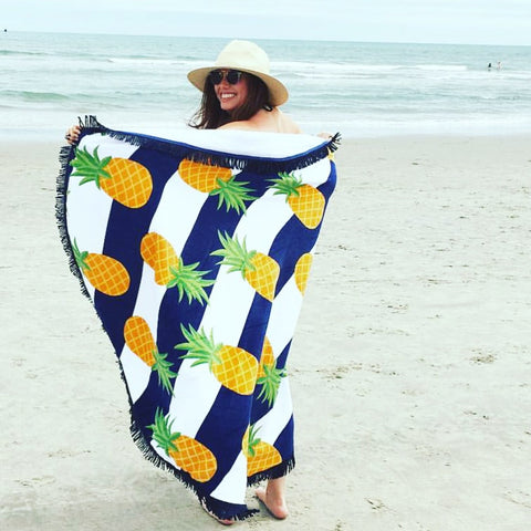 Nautical Pineapple Round Beach Towel