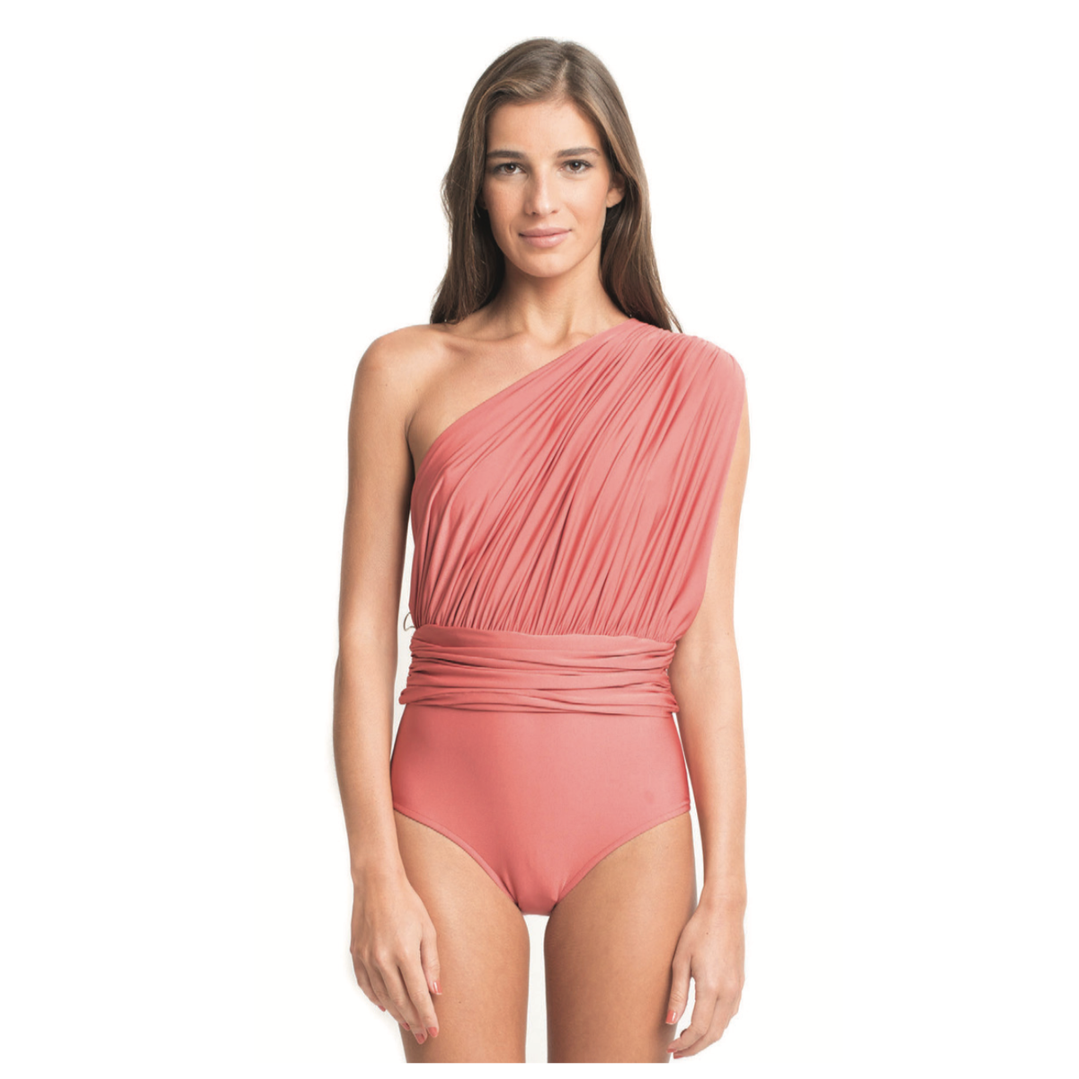 One Shoulder Draped Maillot