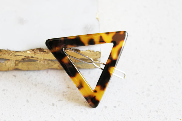 Dark Tortoise Shell Triangle Barrette