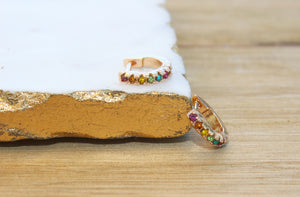 Felicity Rainbow Huggie Hoop Earrings