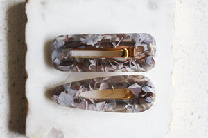 Gray Marble Clip Set