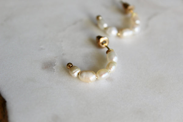 Mandi Pearl Hoop Earrings
